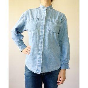 Vintage 90s Mandarin Collar Denim Shirt S
